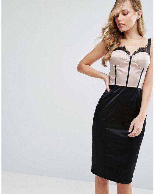 7b2597f3894a Elise Ryan - Black Eyelash Lace Pencil Dress With Paneled Corset Detail -  Lyst ...