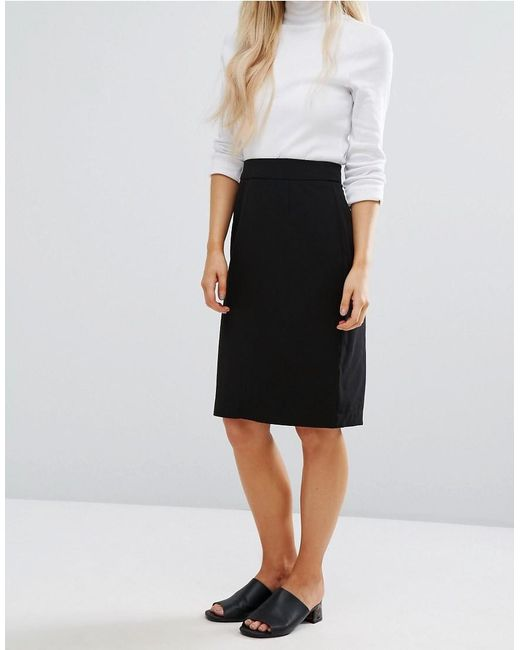 New look Tailored Pencil Skirt in Black | Lyst