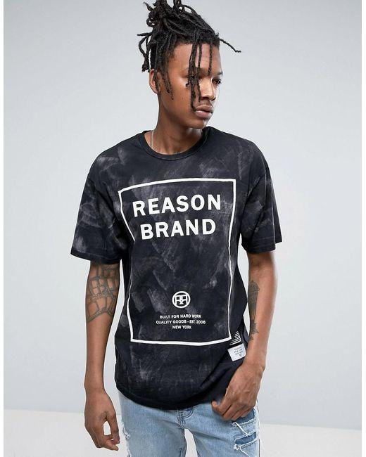 reason logo tshirt in acid wash in black for men lyst