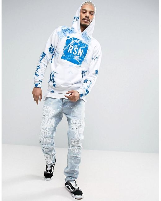 reason hoodie in marble wash with logo in white for men lyst