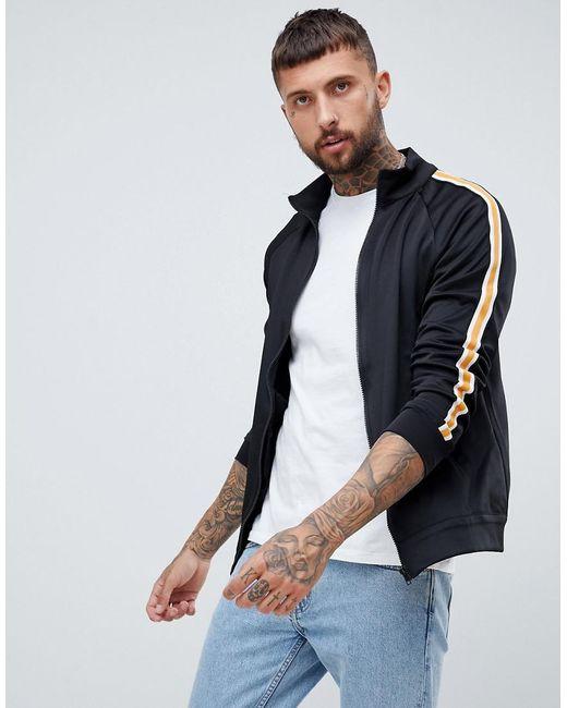 Bershka - Track Jacket In Black With Side Stripe for Men - Lyst
