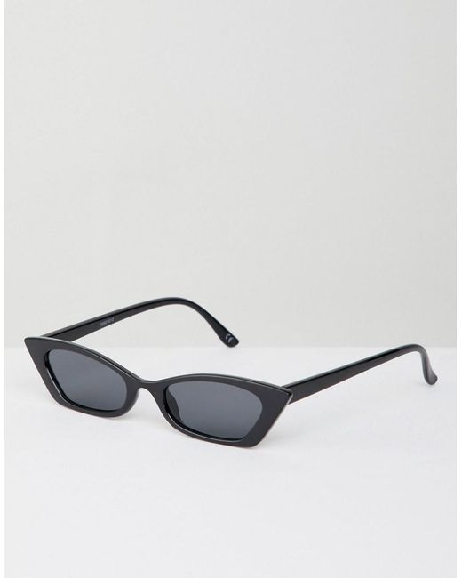 19616a44be ASOS - Black Squared Off Narrow Cat Eye Sunglasses - Lyst ...