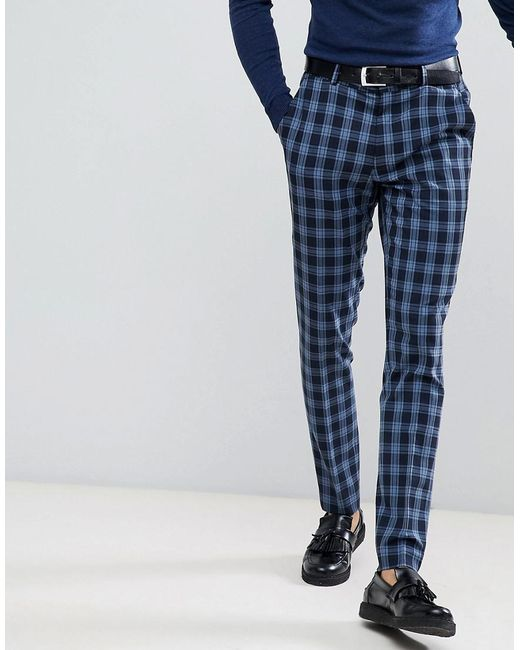 ASOS - Super Skinny Suit Trousers In Blue Tartan Check for Men - Lyst