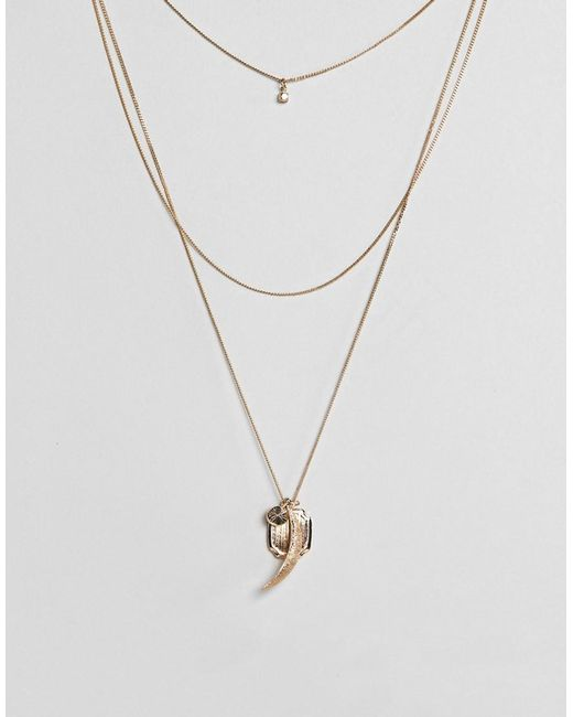 ASOS | Metallic Coin & Charm Multirow Necklace | Lyst