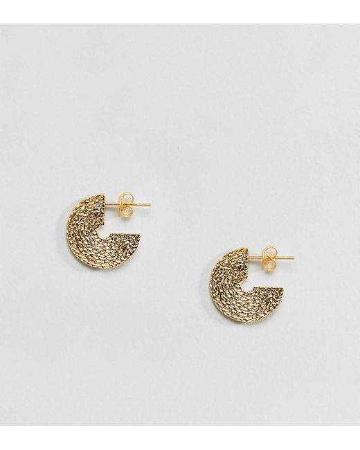 ASOS - Metallic Sterling Silver With Gold Plate Hoop Earrings In Etched Design - Lyst