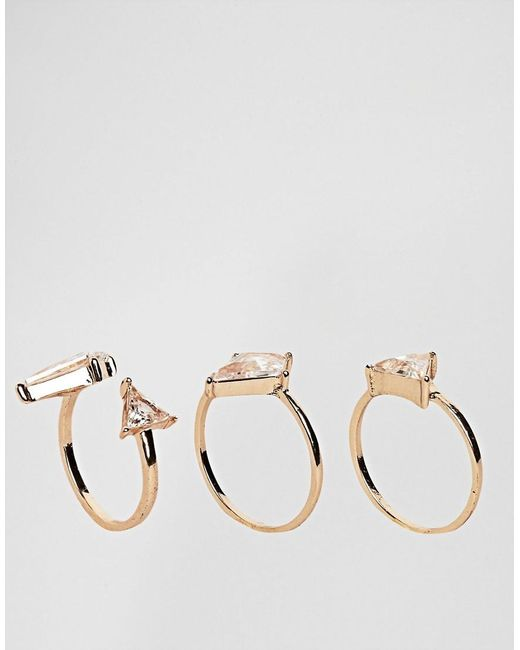 ALDO | Metallic Taleclya 3 Pack Gem Rings | Lyst