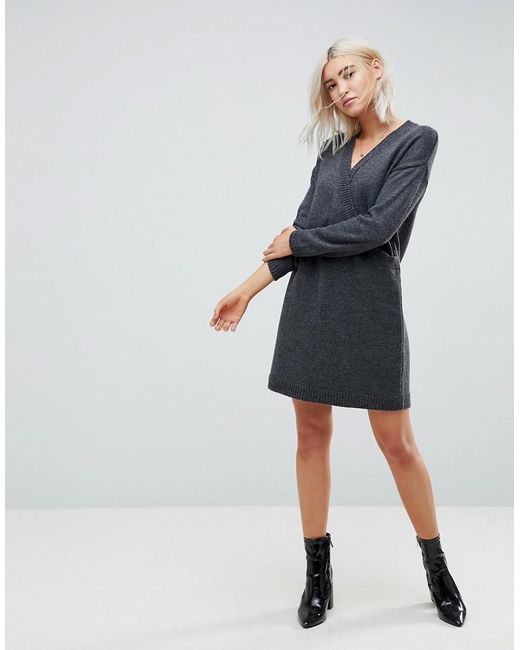 ASOS - Gray Asos Chunky Knitted Dress With Wrap Detail - Lyst