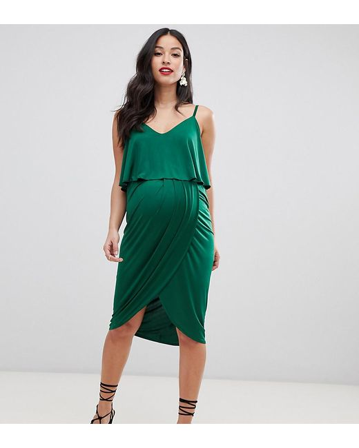 ae5edbb184c22 ASOS - Green Asos Design Maternity Slinky Wrap Midi Dress - Lyst ...