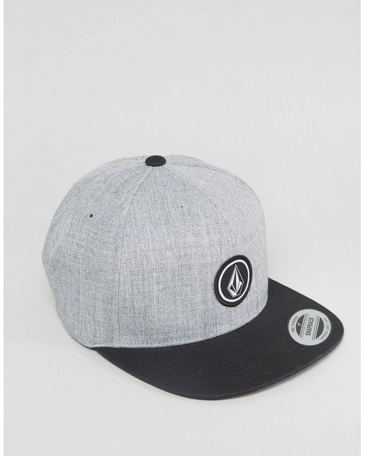 Volcom - Gray Quarter Twill Snapback With Small Logo for Men - Lyst
