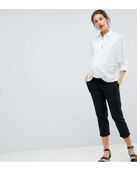 f54a536af474dc ASOS - Asos Design Maternity Chino Pants In Black With Under The Bump  Waistband - Lyst ...