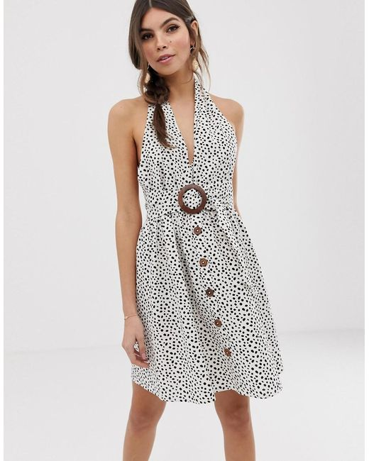 60fd122891 ASOS - Multicolor Halter Neck Mini Button Through Linen Sundress With  Buckle In Spot - Lyst ...