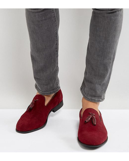 ASOS | Red Wide Fit Loafers In Burgundy Faux Suede for Men | Lyst
