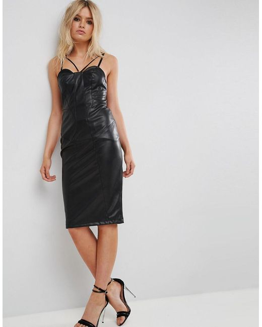 Faux Leather Seamed Bandeau Midi Dress - Black Asos Limited Edition For Sale 49Uspvyva