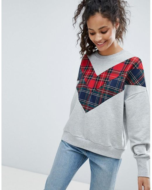 Bershka - Gray Check Detail Sweater - Lyst