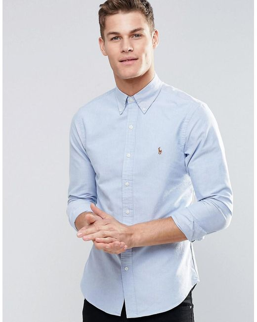 b543e698 Polo Ralph Lauren Oxford Shirt In Slim Fit Blue in Blue for Men - Lyst