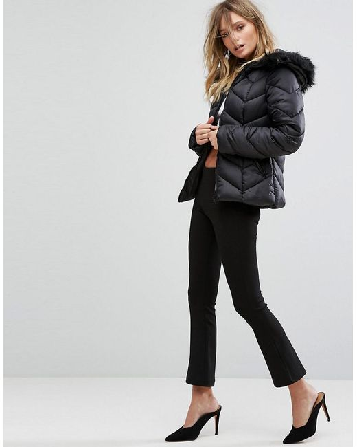 ... New Look - Black Chevron Padded Jacket - Lyst