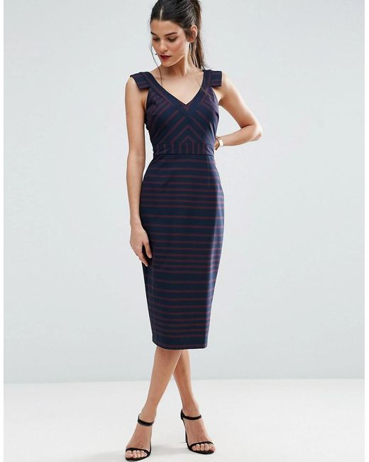 ASOS | Blue V Front V Back Pencil Dress In Stripe | Lyst