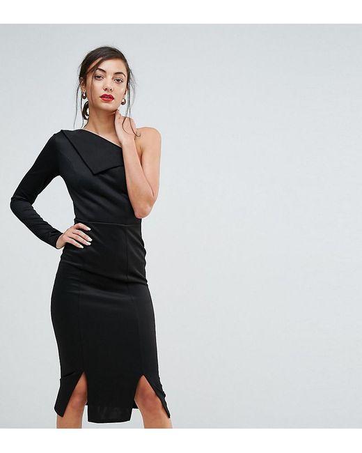 ASOS - Black Double Split One Shoulder Midi Dress - Lyst