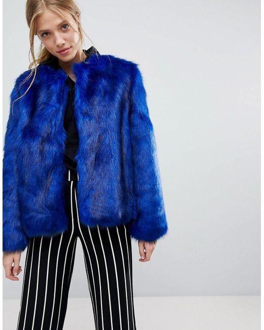 Bershka - Blue Faux Fur Jacket - Lyst