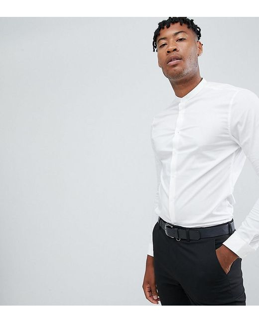 3327e11f5bf ASOS DESIGN - White Tall Skinny Shirt In With Grandad Collar for Men - Lyst  ...