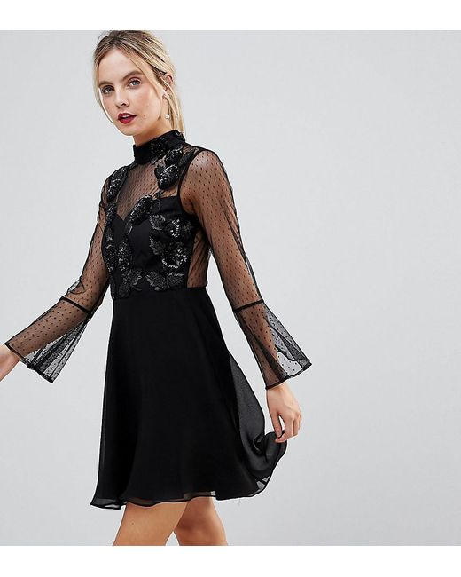 12199f688d336 ASOS - Black Fluted Sleeve Embellished Dobby Skater Dress - Lyst ...