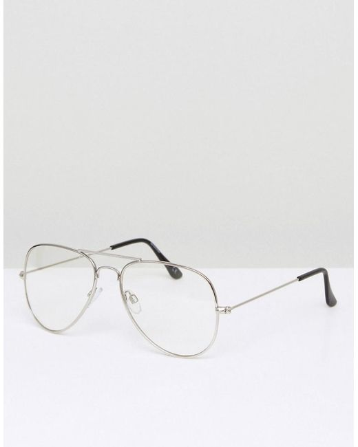 421198510 ASOS - Metallic Aviator Glasses With Clear Lens In Silver for Men - Lyst ...