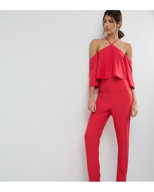 ASOS | Red Jumpsuit With Ruffle Bardot And Halter Neck Detail | Lyst