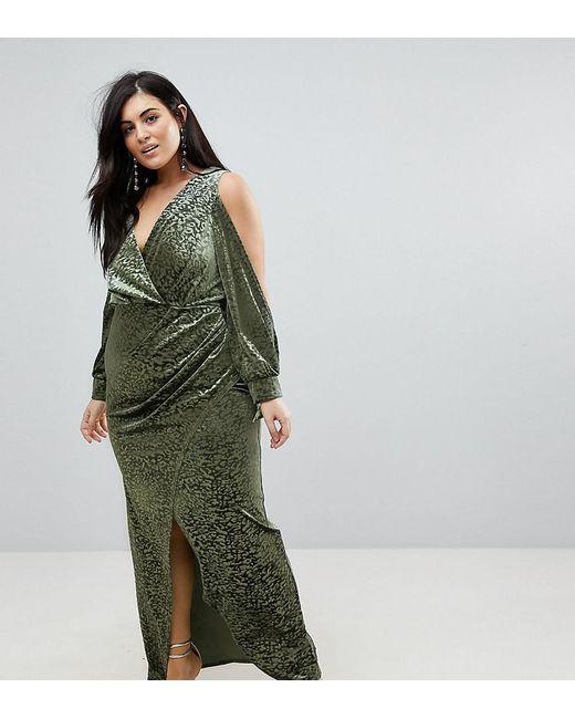 Cold Shoulder Velvet Animal Devore Maxi Dress - Multi Asos Curve hGPF4be5BR