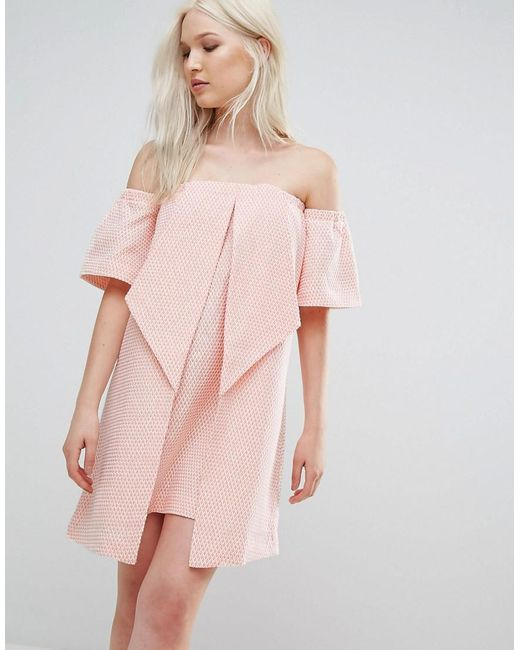 Lyst N12h Valley Origami Dress In Pink