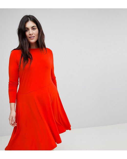 ASOS - Red Midi Skater Dress With Asymmetric Hem - Lyst
