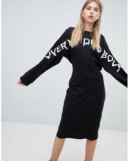 Cheap Monday - Black Long Sleeve Dress With Slogan - Lyst