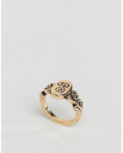 ASOS - Metallic Ornate Monogram 's' Initial Ring - Lyst