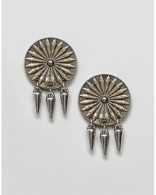 ASOS - Metallic Engraved Disc And Spike Earrings - Lyst