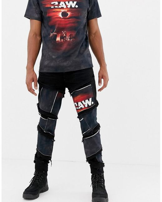d1709792646556 G-Star RAW - Blue X Jaden Smith Spiral Eclipse Patches 3d Slim Jeans for ...