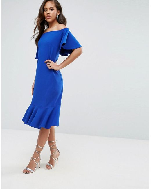 Off Shoulder Midi Dress With Fluted Hem Detail - Bright blue John Zack Tall Sale Geniue Stockist Cheap Price Discount Authentic Sale oVCI9Xu4