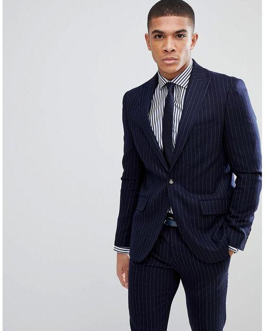 Moss Bros Blue London Skinny Suit Jacket In Pinstripe For Men Lyst