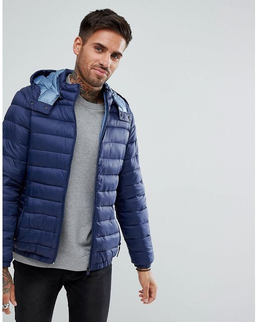 Bershka Quilted Jacket With Hood In Navy In Blue For Men Lyst