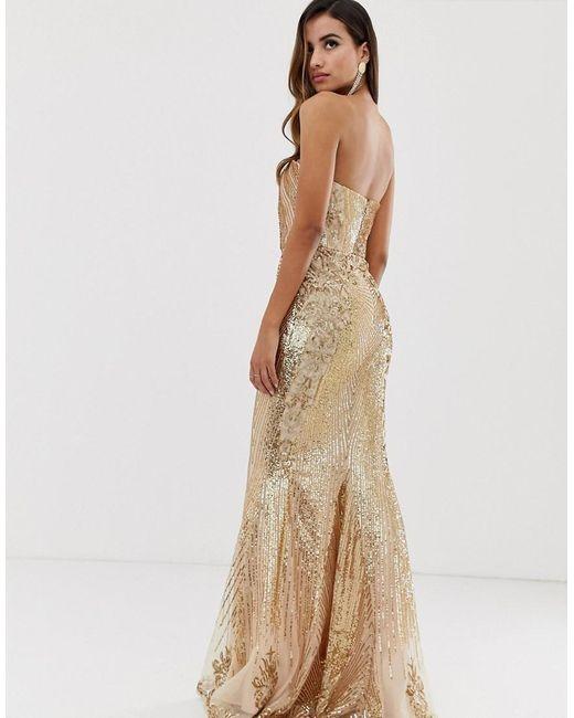 46d6c0f1a08 ... Goddiva - Metallic Bandeau Sequin Embellished Maxi Dress In Gold - Lyst