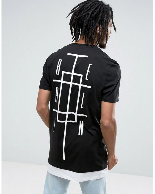 lyst asos super longline t shirt with berlin print. Black Bedroom Furniture Sets. Home Design Ideas