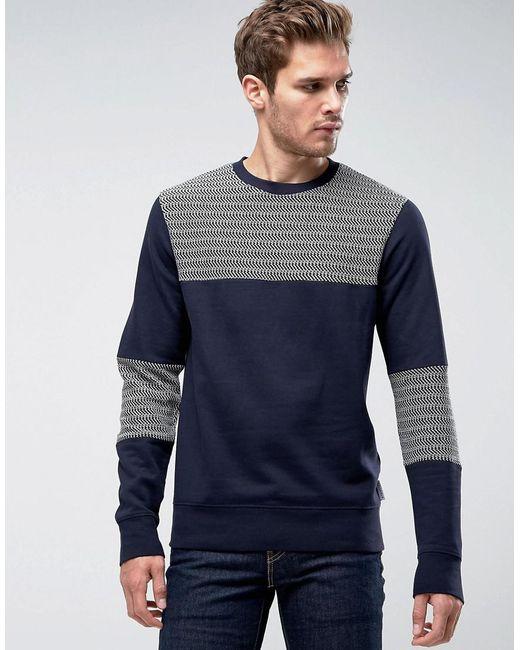 Bellfield | Blue Sweatshirt With Herringbone Panels for Men | Lyst