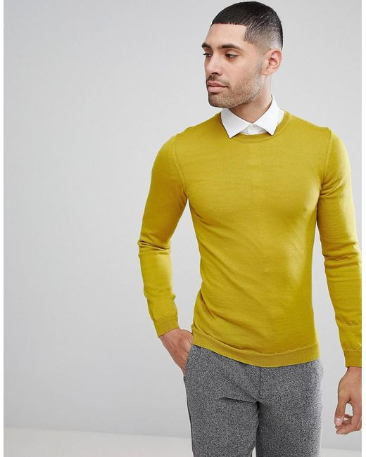 ASOS - Green Asos Muscle Fit Merino Wool Jumper In Yellow for Men - Lyst