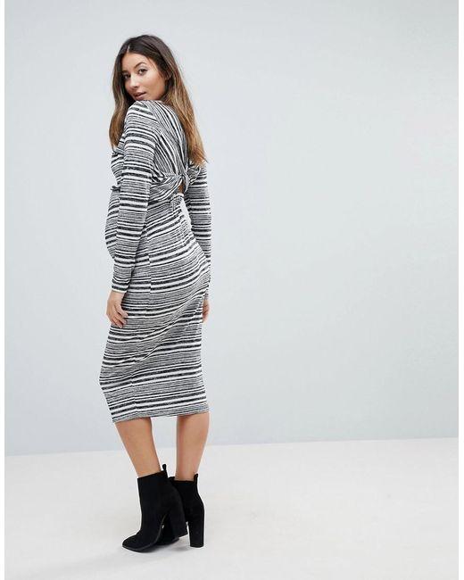 052ef188705f9 ... ASOS - Gray Twist Back Bodycon Dress In Stripe - Lyst