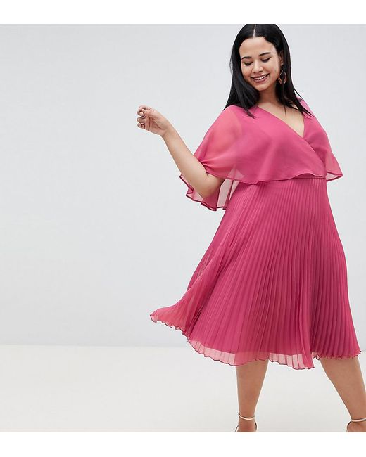 c3b569adea284 ASOS - Pink Asos Design Maternity Flutter Sleeve Midi Dress With Pleat Skirt  - Lyst ...