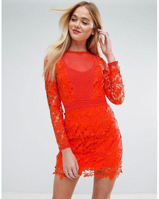 ASOS | Orange Lace Long Sleeve Paneled Shift Dress | Lyst
