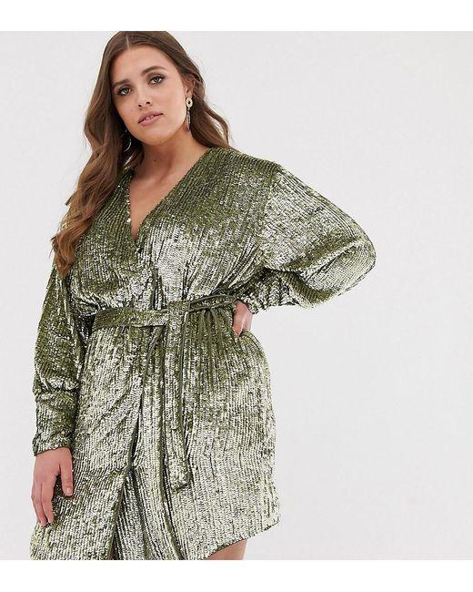 922d340f2a42 ASOS - Green Curve Sequin Wrap Mini Dress - Lyst ...