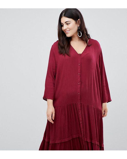 aef3a061d ASOS - Red Asos Design Curve Casual Crinkle Button Through Maxi Dress -  Lyst ...