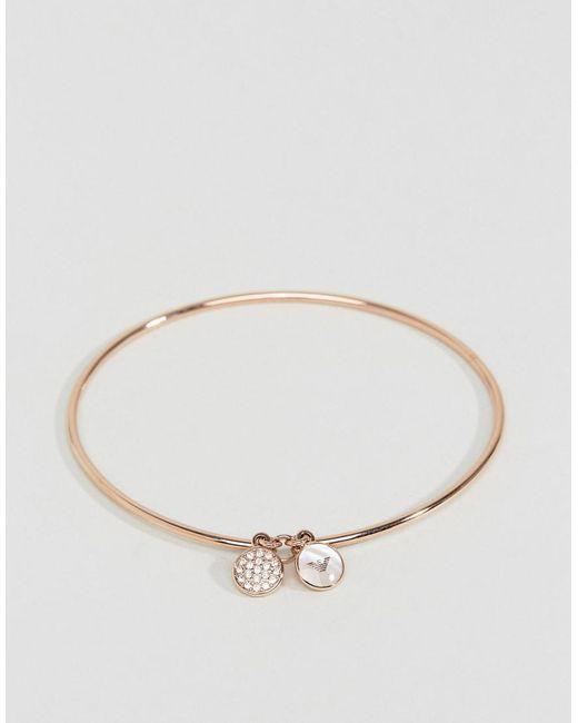 Emporio Armani | Metallic Rose Gold Logo Bangle | Lyst