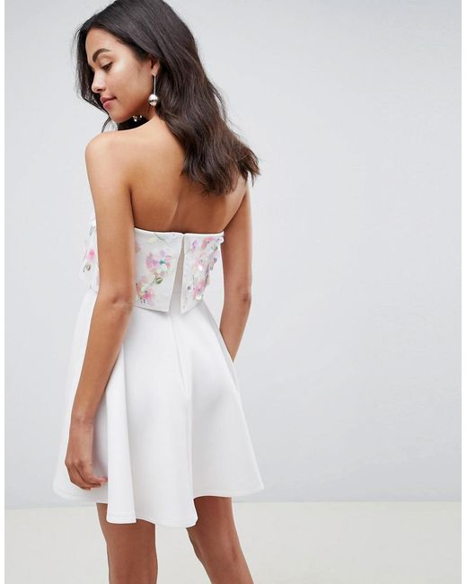 ca96dfb5c7f ... ASOS - White Scuba Embellished Crop Top Bandeau Skater Mini Dress - Lyst