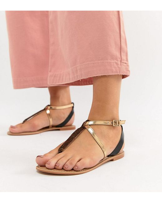 3d1b0e5851c7 ASOS - Multicolor Forbes Leather Wide Fit Flat Sandals - Lyst ...