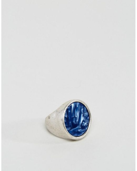 ASOS | Metallic Signet Ring In Burnished Silver With Blue Stone for Men | Lyst
